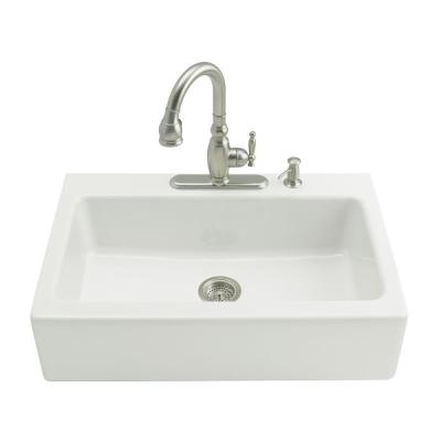 KOHLER Dickinson Tile-In Apron-Front Cast Iron 33 in. 3-Hole Single Bowl Kitchen Sink in White