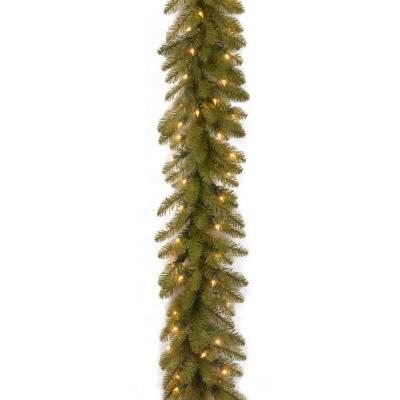 National Tree Company 9 ft. Dunhill Fir Garland with 100 Clear Lights