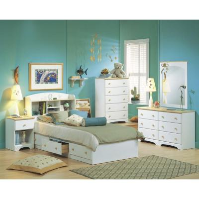 South Shore Summertime 6-Drawer Pure White and Natural Maple Dresser