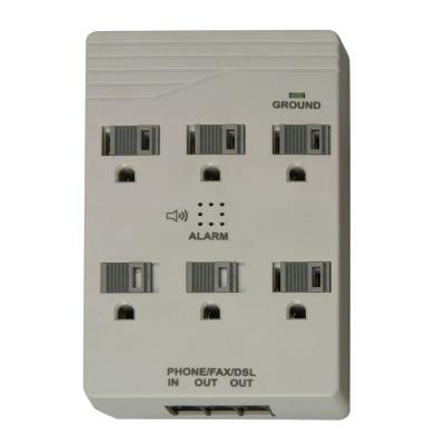 Woods Home Office 6-Outlet 1000-Joule Surge Protector with Alarm and Sliding Safety Covers