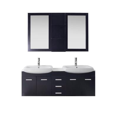 Virtu USA Ophelia 60 in. W x 19 in. D Vanity in Espresso with Stone Vanity Top in White with White Basin and Mirror