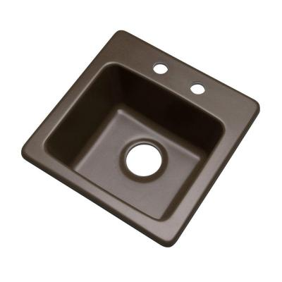 Mont Blanc Westminster Drop-In Composite Granite 16 in. 2-Hole Single Basin Bar Sink in Mocha