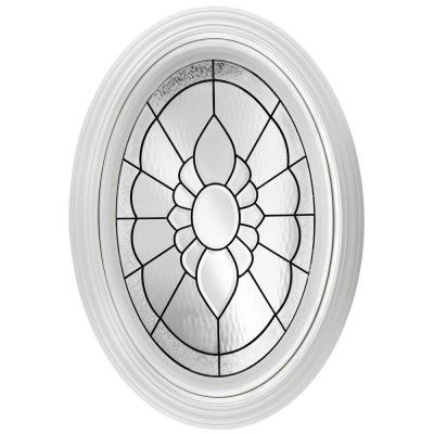 Hy-Lite 23.25 in. x 35.25 in. Decorative Glass Fixed Oval Vinyl Windows Floral PE Glass, Black Caming - White
