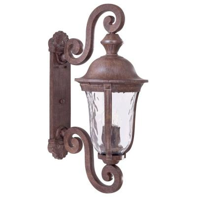the great outdoors by Minka Lavery Wall-Mount 3-Light Outdoor Vintage Rust Lantern