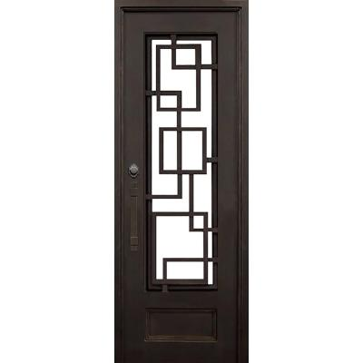 40 in. x 96 in. St Andrews Dark Bronze Left-Hand Inswing Painted Iron Prehung Front Door with Clear Glass and Hardware Product Photo