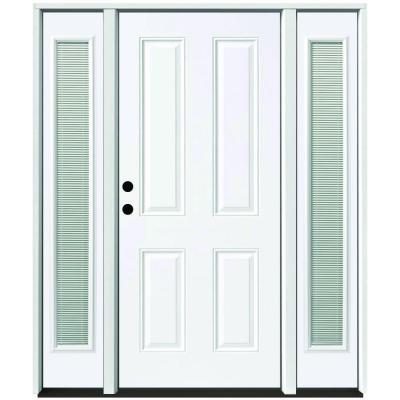 64 in. x 80 in. 4-Panel Primed White Right-Hand Steel Prehung Front Door with 12 in. Mini Blind Sidelites 4 in. Wall Product Photo