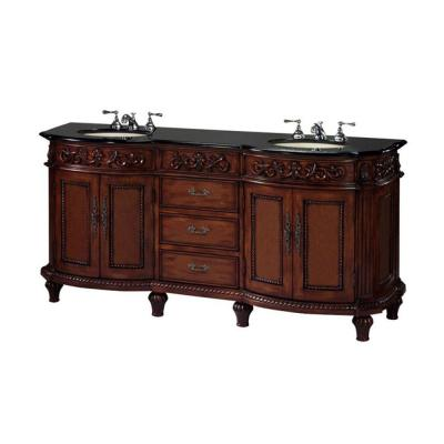 Home Decorators Collection Chelsea 72 in. W x 22 in. D Vanity in Antique Cherry with Granite Vanity Top in Black-DISCONTINUED