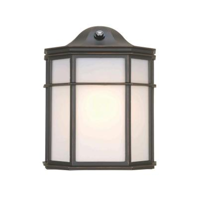 Hampton Bay 1-Light Outdoor Oil Rubbed Bronze Dusk-to-Dawn Lantern