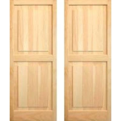 Pinecroft 15 in. x 55 in. Unfinished Raised Panel Shutters Pair