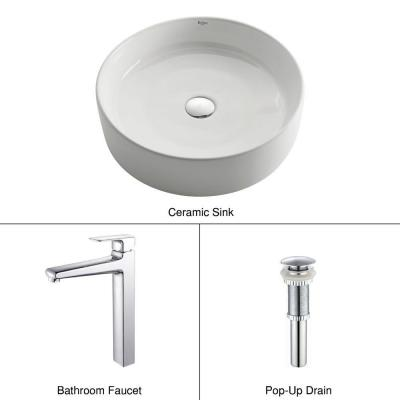 Round Ceramic Sink in White with Virtus Faucet in Chrome Product Photo
