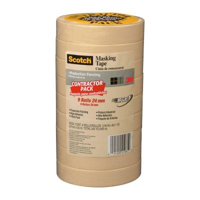 3M Scotch 0.94 in. x 60.1 yds. Painting Production Masking Tape (9-Pack)