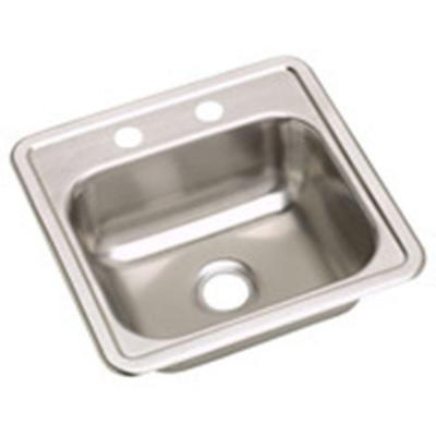 Dayton Top Mount Stainless Steel 15 in. 2-Hole Single Bowl Bar