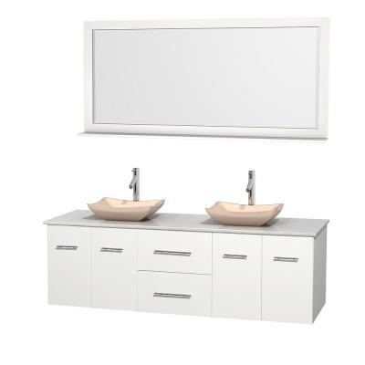 Centra 72 in. Double Vanity in White with Solid-Surface Vanity Top