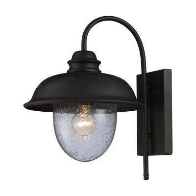 Titan Lighting Streetside Cafe 1-Light Matte Black Outdoor Wall Mount Sconce
