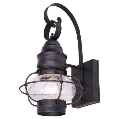 Hampton Bay Textured Iron Outdoor Wall Mount Lantern 8211 161 The Home Depot