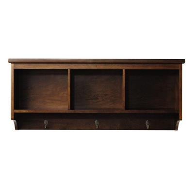 Wellman 8.5 in. W x 38 in. L Wall Shelf with 3-Hooks in Espresso Product Photo