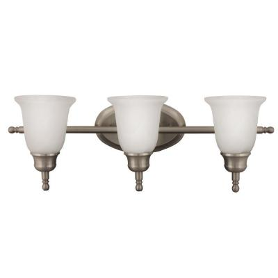 3-Light Nickel Fluorescent Triple Vanity Sconce with Alabaster Glass