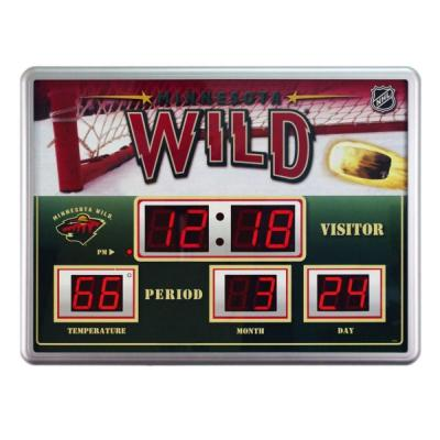 null Minnesota Wild 14 in. x 19 in. Scoreboard Clock with Temperature
