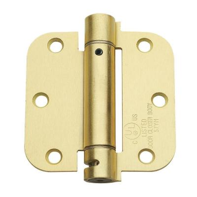 3.5 in. x 3.5 in. Satin Brass Steel Spring Hinge with