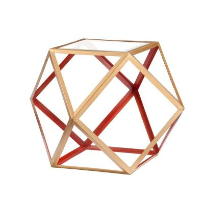 Olivia Geometric Red and Champagne Accent Table Product Photo
