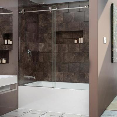 DreamLine Enigma-X 59 in. x 62 in. Frameless Sliding Tub/Shower Door in Polished Stainless Steel