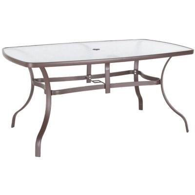 38 in x 60 in steel glass top patio dining table discontinued t