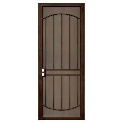 Unique Home Designs 36 in. x 96 in. Arcada Copper Surface Mount Right-Hand Steel Security Door with Expanded Metal Screen