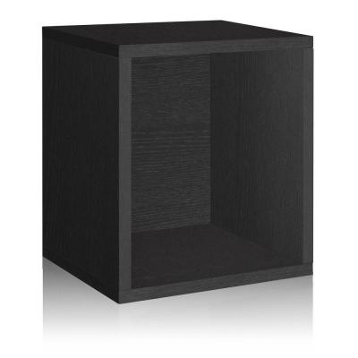 Way Basics zBoard Eco 15.5 in. x 13.4 in. Stackable Storage Cube Organizer in Black Wood Grain