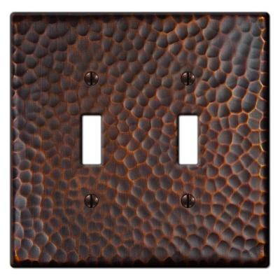 Hammered 2 Toggle Wall Plate - Aged Bronze