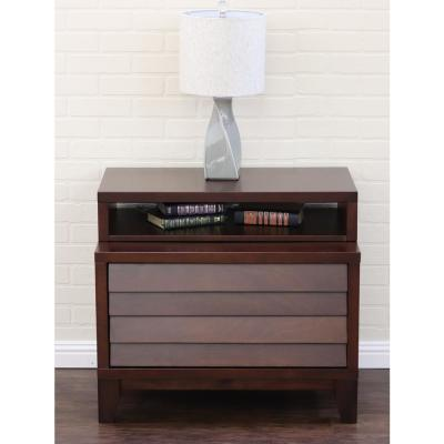 Island 2-Drawer Mocca Nightstand