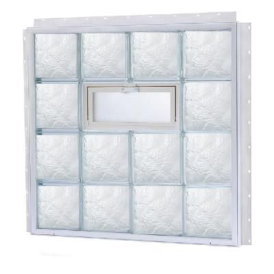 TAFCO WINDOWS 29.375 in. x 13.875 in. NailUp2 Vented Ice Pattern Glass Block Window