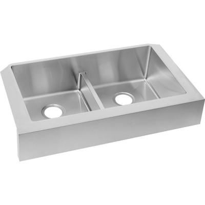 Elkay Crosstown Undermount Apron Front Stainless Steel 32 in. Double Bowl  Kitchen Sink