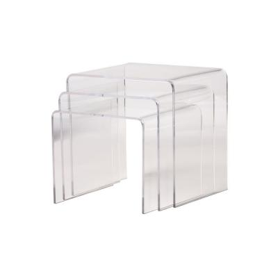 Acrylic 3-Piece Nesting Accent Display Table Set in Clear Product Photo