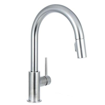 Delta Trinsic Single-Handle Pull-Down Sprayer Kitchen Faucet in Arctic Stainless Featuring MagnaTite Docking