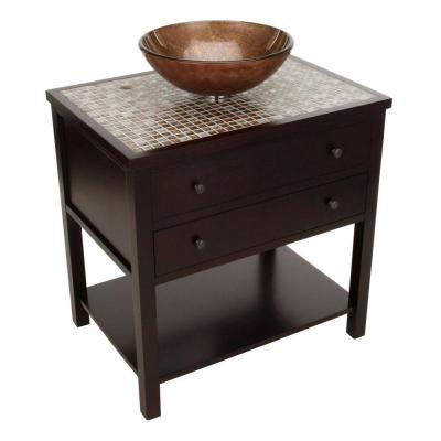Home Decorators Collection Briscoe 31 in. W x 22 in. D Vanity in Espresso with Glass Top/Copper Basin