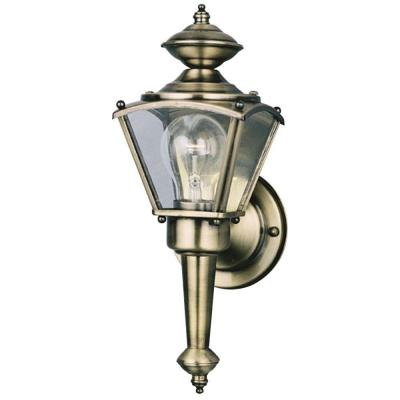 Westinghouse 1-Light Antique Brass on Solid Brass Steel Exterior Wall Lantern with Clear Glass Panels
