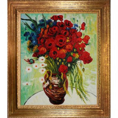 null 20 in. x 24 in. Vase with Daisies and Poppies Hand Painted Classic Artwork