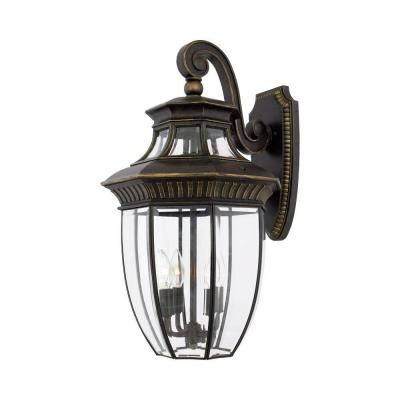 Filament Design 4 Light Outdoor Imperial Bronze Clear Glass Wall Mount Light