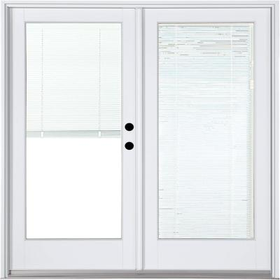 59-1/4 in. x 79-1/2 in. Fiberglass White Left-Hand Inswing Hinged Patio Door with Low-E Blinds Between Glass Product Photo