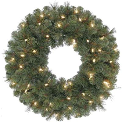 Home Accents Holiday 24 in. Pre-Lit Wesley Pine Artificial Wreath with Clear Lights