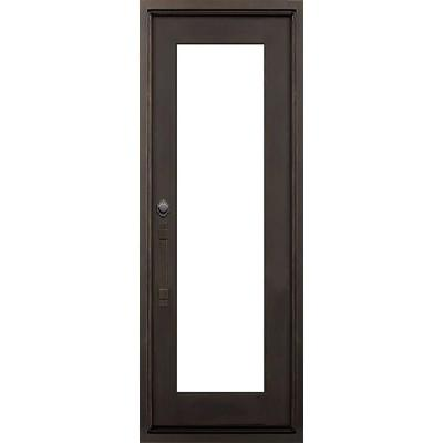 40 in. x 82 in. Marco Island Dark Bronze Right-Hand Outswing Painted Iron Prehung Front Door w/ Clear Glass and Hardware Product Photo