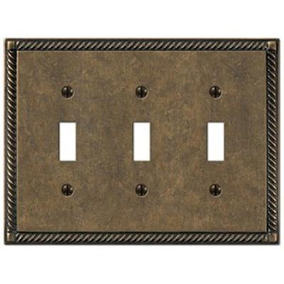 Creative Accents Tuscan 3 Toggle Wall Plate - Antique Brass