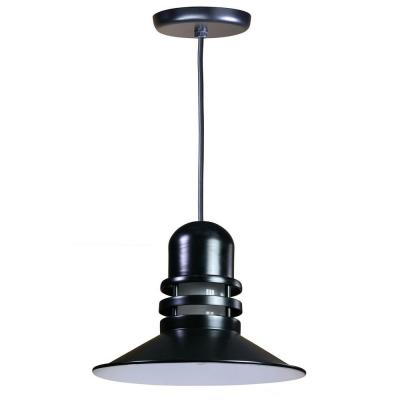 Illumine 1-Light Outdoor Hanging Black Orbitor Shade Pendant with Frosted Glass