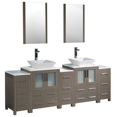 Fresca Torino 84 in. Double Vanity in Gray Oak with Glass Stone Vanity Top in White with Basin, Mirrors and 3 Side Cabinets