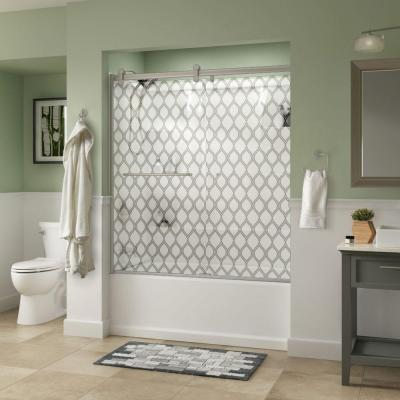 Simplicity 60 in. x 58-3/4 in. Semi-Framed Contemporary Style Sliding Tub Door in Nickel with Ojo Glass Product Photo