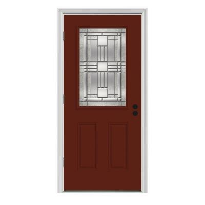 34 in. x 80 in. Cordova 1/2 Lite Mesa Red Painted Premium Steel Prehung Front Door with Brickmould Product Photo