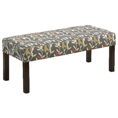 Simple Woven Fabric Accent Bench with Cushion in Grey and White