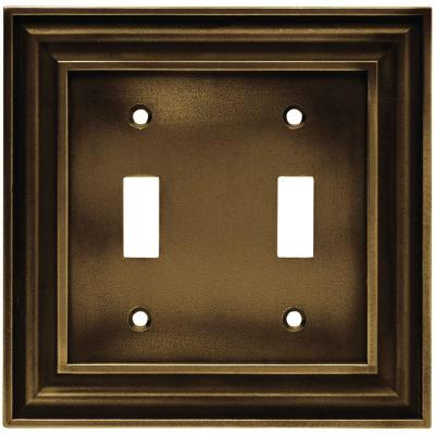 Liberty 2 Gang Switch Rustic Edges Tumbled Antique Brass Wall Plate