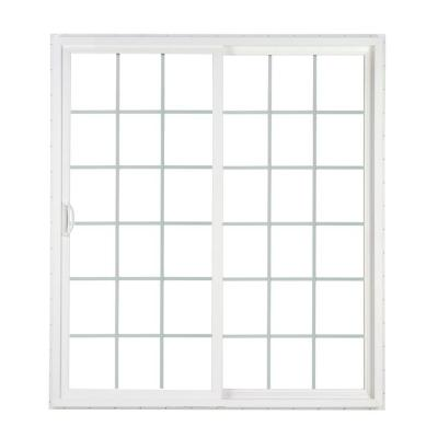 72 in. x 80 in. 2-Panel Contemporary Vinyl Sliding Patio Door with ProSolar Low-E Glass, Grids, Custom Interior Hardware Product Photo