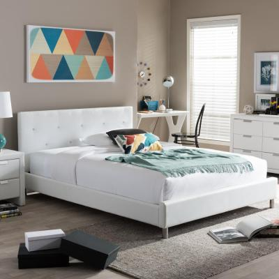 Baxton Studio Barbara White Full Upholstered Bed